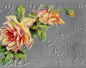 Antique Postcard DOWNLOAD | Friendship's Offering | Edwardian Friendship Silver Gray Pink / Coral Roses Floral Flowers png jpg digital
