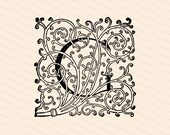 Ornamental Penwork Filigree Initial Letter G Vector Clipart  | Vintage Victorian Capital Letter G, Fancy Antique Monogram SVG PNG JPG