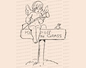 Vintage Edwardian Cupid with Musket on Keep off the Grass Sign with Bird  | Valentine's Day Vector Clipart | Romantic SVG PNG JPG