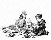 Vintage Edwardian Children with Toys | Boy and Girl Playing with Broken Toys | Siblings, Brother and Sister SVG PNG JPG