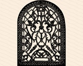Vintage Victorian Arched Ornate Cast Iron | 1880s Antique Filigree Pattern Vector Clipart | Digital Download SVG PNG JPG