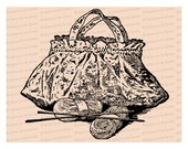 Edwardian Knitting Bag with Yarn and Needles | Vintage Work Bag Vector Clipart Instant Download SVG PNG JPG