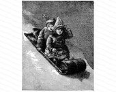 Vintage Victorian Sledding Children | 1890s Boy and Girl on Sled Winter Snow Vector Clipart Instant Download SVG PNG JPG