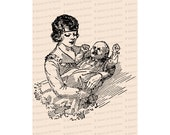 Vintage 1920s Mother and Child | Mother Holding Crying Baby Vector Clipart Instant Download SVG PNG JPG