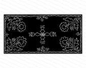 Vintage Victorian Filigree Flowers Rectangular Pattern | Antique Decorative Floral Rectangle Element Vector Clipart | Tile SVG PNG JPG