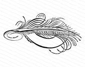 Blank Banner with Feather and Flourishing | Victorian Penwork Clipart | Digital Instant Download SVG PNG JPG