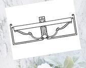 Vintage Art Nouveau Title Border Element | Antique Geometric Curves Header Frame | Vector Clipart SVG PNG JPG
