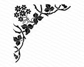 Vintage Victorian Floral & Leaf Corner Embellishment | Antique Decorative Flowers and Leaves Design Element Vector Clipart | SVG PNG JPG