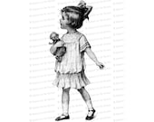 Vintage Little Girl in Dropped-Waist Dress with Doll and Hair Bow | Edwardian Child Vector Clipart Instant Download SVG PNG JPG