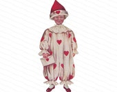 Vintage Edwardian Boy in Valentine Clown Suit Holding Envelope | Antique Romantic Love Vector Clipart Valentine's Day PNG JPG SVG