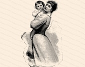 Vintage Victorian Mother Hugging Child | Mother and Child | Vector Clipart Instant Digital Download SVG PNG JPG