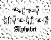Victorian Sign Language Alphabet Vector Clipart  | Deaf Manual Alphabet | Vintage Fingerspelling Clipart Set SVG PNG