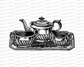 Digital Vintage Victorian Tea Service | Antique Tea Set Vector Clip Art | Instant Download SVG PNG JPG