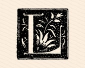 Ornamental Penwork Initial Letter L Vector Clipart  | Vintage Victorian Capital Letter L  | Floral Antique Monogram SVG PNG JPG