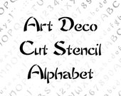 Art Deco Cut Stencil Alphabet Vector Clipart  | Vintage Penwork  Uppercase & Lowercase Letters, Numbers, Punctuation Calligraphy SVG PNG