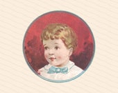 Sweet Vintage Little Boy with Bowtie | Victorian Child Color Vector Clipart Instant Download SVG PNG JPG