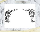 Vintage Cherub Arch Border Clipart | Antique Wedding Frame Element | Victorian Vector Romantic, Cherubs, Valentine's Day SVG PNG JPG