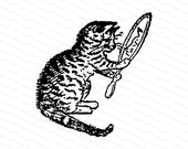 Victorian Cat with Mirror Clipart | Vintage Cat Looking into Mirror | Antique Cat Vector SVG PNG JPG Digital
