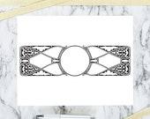 Vintage Art Nouveau Border | Antique Round Frame in Rectangular Decorative Element | Vector Curves Geometric Download SVG PNG JPG