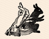 Vintage Victorian Shadow Puppet | 1890s Rabbit Shadow Vector Clipart | Bunny, Hare Hand Shadow Puppetry, Puppets | Download SVG PNG JPG