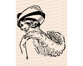 Flapper with Hat and Feather Boa Smiling over Shoulder | Vintage 1920s Woman Vector Clip Art Instant Download | SVG PNG JPG