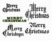 Vintage Merry Christmas Words / Phrases | Victorian Holiday Ornamental Calligraphy Lettering Vector Clipart Instant Download SVG PNG JPG