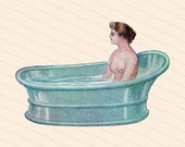 Edwardian Lady in Bathtub | Vintage Antique Water Cure | Woman in Old Fashioned Tub Color Vector Clipart Instant Download SVG PNG JPG
