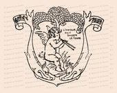 Vintage Edwardian Musical Cupid with Flute under Tree    Valentine's Day Vector Clipart   Romantic l'amour fait passer le temps SVG PNG JPG