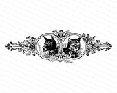 Victorian Dog and Cat Design Element | Antique Vintage Fancy Pets Vector Clip Art SVG PNG JPG Instant Digital Download