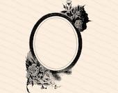 Vintage Edwardian Frame with Roses | Antique Oval Frame with Flowers | Vector Instant Download SVG PNG JPG