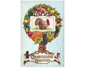 Antique Thanksgiving Postcard DOWNLOAD | Thanksgiving Greetings, turkey, pilgrims, fruit, food, tree png jpg