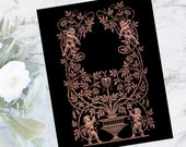 "Cupids and Roses Gold Distressed ""Embossed"" Look Valentine's Day Border | Vintage Edwardian Frame Color Wedding Vector Clipart | SVG PNG JPG"
