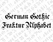 Victorian German Gothic Fraktur Ornamental Alphabet Vector Clipart  | Vintage Ornamental Uppercase & Lowercase Letters | Calligraphy SVG PNG