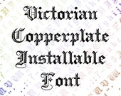 Victorian Copperplate Ornamental Penwork Installable Font  | Vintage Uppercase & Lowercase Letters, Numbers, Punctuation Calligraphy OTF TTF