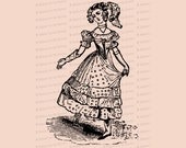 Georgian Dancing Woman | Vintage Dancing Girl Vector Clip Art | Antique Dancer Lady Clipart SVG PNG JPG