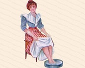 Edwardian Lady Taking Foot Bath | Vintage Antique Water Cure Woman Soaking Feet | Color Vector Clipart Instant Digital Download SVG PNG JPG