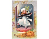 Antique Thanksgiving Postcard DOWNLOAD | Thanksgiving Day, child cook, chef, dinner tray, turkey, pumpkin, corn png jpg