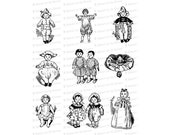 Printable Vintage Edwardian Dolls | 1910s Antique Doll Collage Sheet Vector Clipart Instant Download SVG PNG JPG