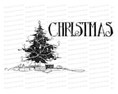 Vintage Christmas Tree | Antique Xmas Tree Vector Clipart Instant Download SVG PNG JPG