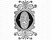 Ornamental Penwork Initial Letter O Vector Clipart  | Vintage Victorian Capital Letter O, Fancy Antique Monogram SVG PNG JPG