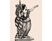 Victorian Columbia   Woman, United States Flag and Laurel   American Patriotic Lady Liberty Vector Clip Art SVG PNG JPG Digital