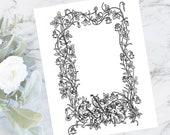 Vintage Cherub Musicians and Columbine Flower Frame | Antique Valentine's Day Border | Vector Romantic, Wedding, Floral SVG PNG JPG