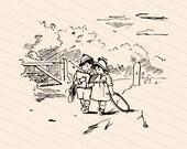 Vintage Edwardian School Children   Boy and Girl Reading and Walking Together   Vector Clipart Instant Digital Download SVG PNG JPG