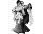 Vintage Dancing Couple | Antique Man & Woman Dancing Clip Art Instant Download PNG JPG