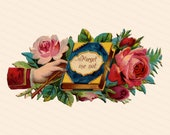 Victorian Die Cut Hand w/ Forget Me Not Book & Roses Shabby Chic Vector Clip Art | Vintage Antique Floral Romantic Love Download SVG PNG JPG