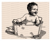 Victorian Baby in Washtub | Vintage Toddler in Bath Tub Vector Clipart Instant Download SVG PNG JPG