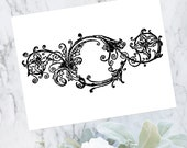 Vintage Floral Border | Antique Victorian Round Frame with Flowers and Scrolls | Vector Instant Download SVG PNG JPG