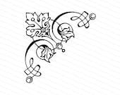 Vintage Victorian Floral & Leaf Filigree Corner Embellishment | Antique Vector Decorative  Design Element Vector Clipart | SVG PNG JPG