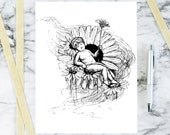 Digitial Vintage Victorian Fairy   1880s Antique Fae with Daisies Vector Clipart   Floral Fairy   Download SVG PNG JPG