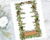 Floral Climbing Roses Border Cherubs & Hearts | Printable Color Valentine's Frame | Vector Romantic, Flowers SVG PNG JPG